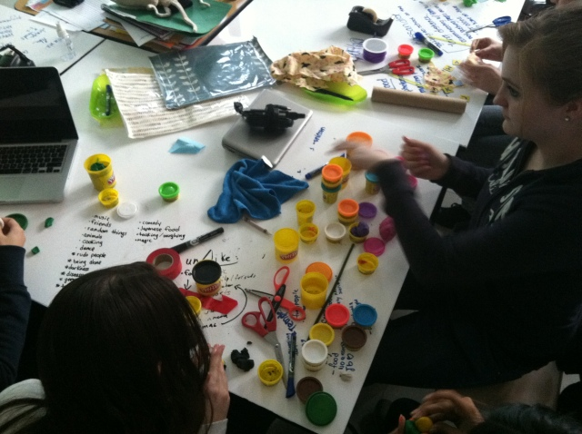 The iSchool Technovation Challenge team, designing gifts for each other at the first meeting