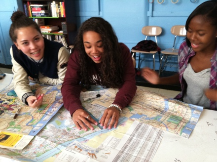 Mackenzie, Athena and Patricia study a Rand McNally road map of the city, and discover the Central Park is terribly distorted on the MTA's subway map